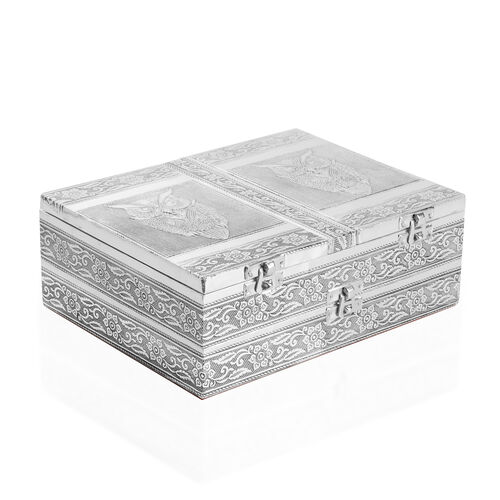 Handcrafted Owl Embossed Double Storey Two Door Jewellery Box with Red Velvet and Mirror Inside (Size 23X17.5X8 Cm)