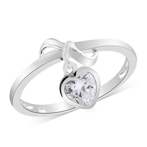 J Francis - Sterling Silver (Hrt) Charm Ring Made with SWAROVSKI ZIRCONIA