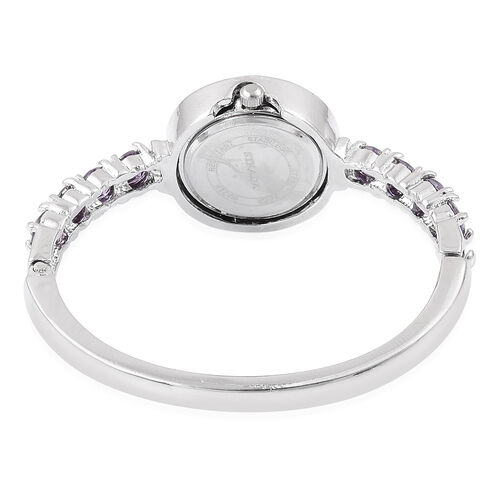 New Concept - STRADA Japanese Movement White Dial Bangle Watch in Silver Tone with White Austrian Crystal and Simulated Purple Colour Diamond. (Size 7.5)
