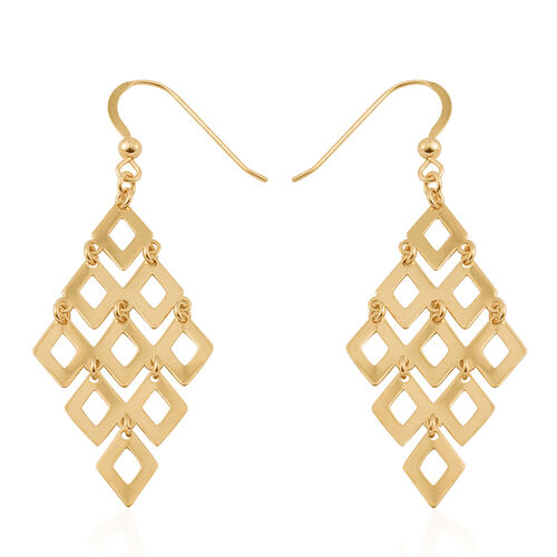 Close Out Deal-14K Gold Overlay Sterling Silver Chandelier Hook Earrings, Silver wt. 4.10 Gms.