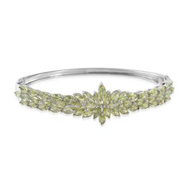 Designer Inspired-Hebei Peridot (Mrq) Bangle (Size 7.5) in Platinum Overlay Sterling Silver 11.000 Ct. Silver wt 19.80 Gms.