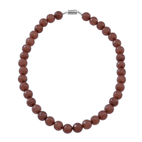 Rare Size Chocolate Agate Beads Necklace with Magnetic Clasp (Size 18) in Rhodium Plated Sterling Silver 450.000 Ct.