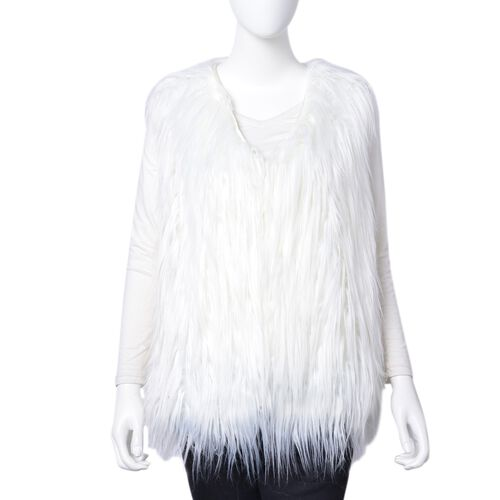 Designer Inspired White Colour Faux Fur Vest (Size 60X52 Cm)