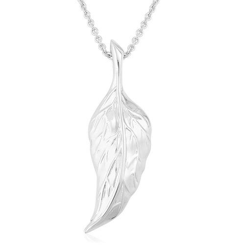 RACHEL GALLEY Rhodium Plated Sterling Silver Leaf Pendant With Chain (Size 30), Silver wt. 14.48 Gms.