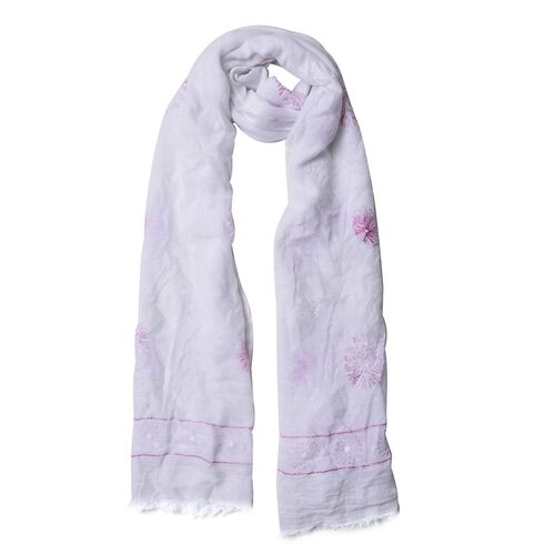 Pink Colour Fireworks Pattern White Colour Scarf (Size 180x70 Cm)