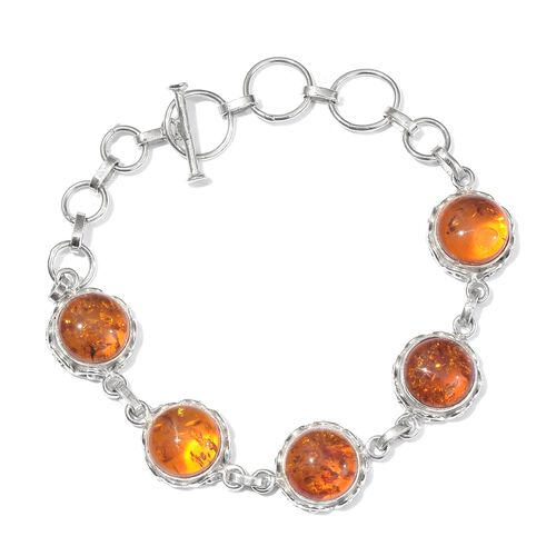 Baltic Amber (Rnd) Bracelet (Size 7.5) in Rhodium Plated Sterling Silver 9.250 Ct.
