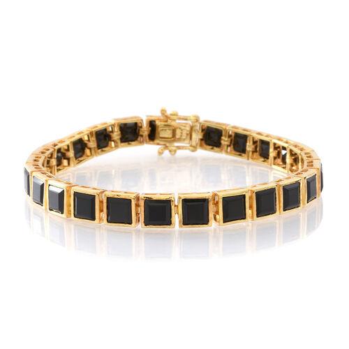 Boi Ploi Black Spinel (Sqr) Tennis Bracelet (Size 7.5) in 14K Gold Overlay Sterling Silver 33.000 Ct.