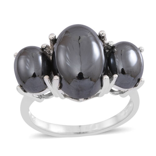 100% Natural Hematite (Ovl 12.00 Ct) 3 Stone Ring in Sterling Silver 19.000 Ct.