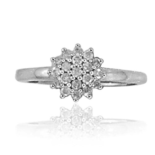 9K White Gold SGL Certified Diamond (Rnd) (I3/G-H) Cluster Ring 0.250 Ct.