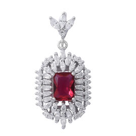 ELANZA AAA Simulated Rubelite (Oct), Simulated White Diamond Pendant in Rhodium Plated Sterling Silver, Silver wt 3.10 Gms.