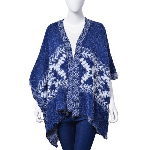 Winter Special - Blue and White Colour Snowflake Pattern Ruana (Size 95x65 Cm)