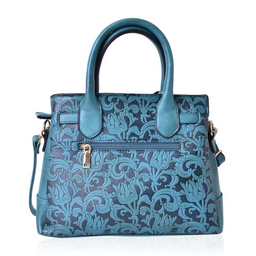 Chelsea Forest Green Baroque Embossed Tote Bag with External Zipper Pocket and Adjustable and Removable Shoulder Strap (Size 29X25X10.5 Cm)