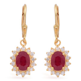 African Ruby (Ovl), White Zircon Lever Back Earrings in 14K Gold Overlay Sterling Silver 4.150 Ct.
