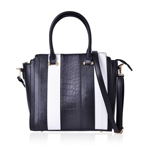 Black and White Colour Stripes Pattern Tote Bag with External Zipper Pocket and Adjustable and Removable Shoulder Strap (Size 37X29X28X12 Cm)