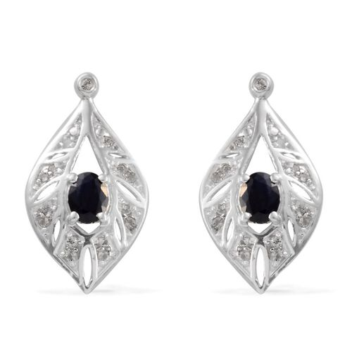 Kanchanaburi Blue Sapphire (Ovl), White Topaz Earrings (with Push Back) in Platinum Overlay Sterling Silver 1.000 Ct.