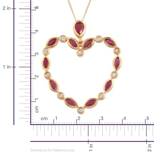 African Ruby (Mrq), White Topaz Heart Pendant With Chain in 14K Gold Overlay Sterling Silver 2.100 Ct.