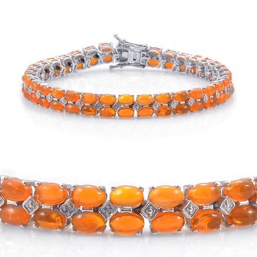 Orange Ethiopian Opal (Ovl), Diamond Bracelet in Platinum Overlay Sterling Silver (Size 7.5) 10.010 Ct.