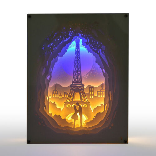 Home Decor - Fairy Tale Lighting with Paper Cut 3D Eiffel Tower Motif (Size 20.8x15.8x4.2 Cm)