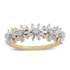 Limited Edition- 9K Yellow Gold SGL Certified Diamond (Rnd) (I3/G-H) Floral Ring 0.500 Ct.