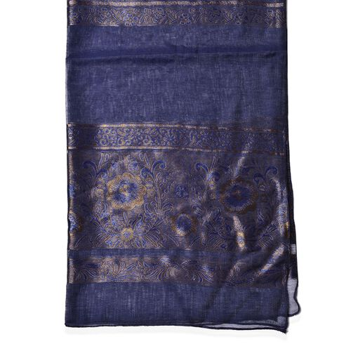 Floral and Leaves Pattern Navy Colour Scarf (Size 180x70 Cm)