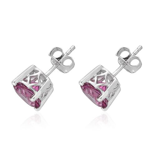 Mystic Pink Coated Topaz (Rnd) Stud Earrings (with Push Back) in Platinum Overlay Sterling Silver 4.500 Ct.
