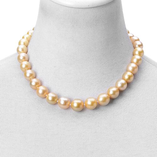 Signature Collection-ILIANA 18K Yellow Gold South Sea Golden Pearl (Rnd 9-15mm) Necklace (Size 18)