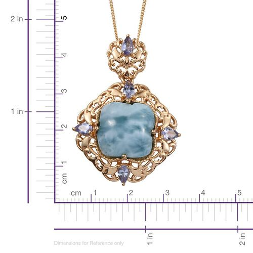 Stefy Larimar, Tanzanite and Pink Sapphire Pendant With Chain in 14K Gold Overlay Sterling Silver 12.260 Ct.