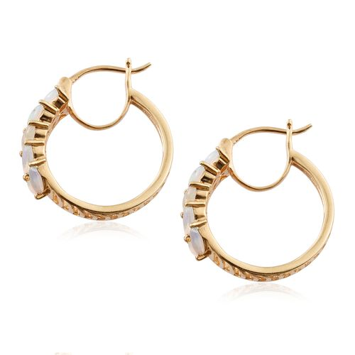 Ethiopian Welo Opal (Mrq) Hoop Earrings (with Clasp Lock) in 14K Gold Overlay Sterling Silver 1.500 Ct. Silver wt. 5.44 Gms.