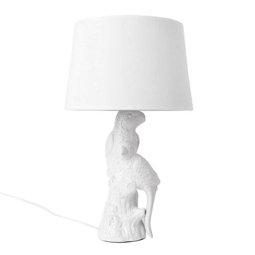 Home Decor - Parrots Shape Ceramic Table Lamp White (Size 49x30x12 Cm)