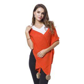 Orange Colour Knitted Scarf with 2 Pom Pom (Size 184x31 Cm)
