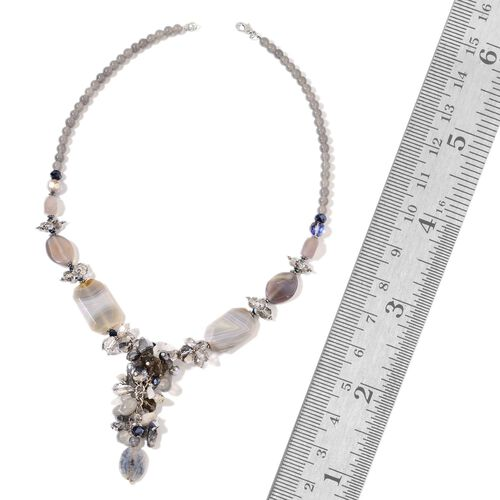 Grey Agate, Simulated Multi Colour Diamond and Grey Glass Pearl Cluster Necklace (Size 29) in Silver Tone 580.00 Ct.