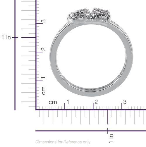 Diamond (Rnd) XO Ring in Platinum Overlay Sterling Silver 0.100 Ct.