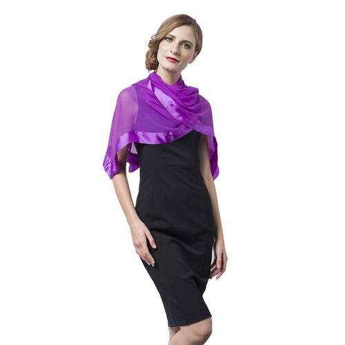 100% Mulberry Silk Purple Colour Scarf with Satin Border (Size 160X60 Cm)