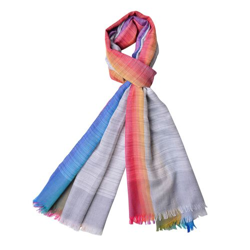 Grey, Pink and Multi Colour Stripes Pattern Scarf with Fringes (Size 180X90 Cm)