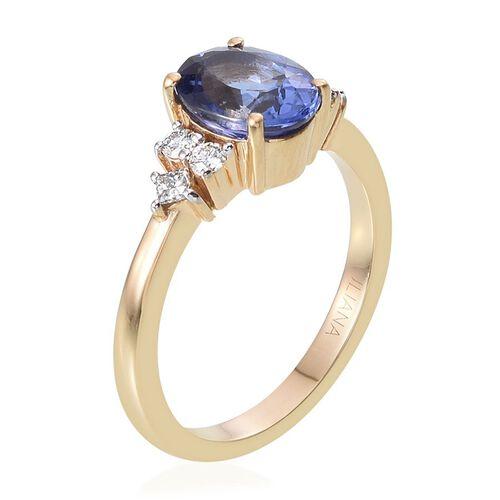 ILIANA 18K Y Gold AAA Tanzanite (Ovl 1.75 Ct), Diamond Ring 2.000 Ct.