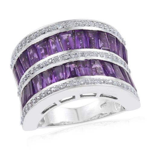 Limited Edition- AAA Rare Shape Amethyst (Bgt), Natural Cambodian Zircon Ring in Platinum Overlay Sterling Silver 6.250 Ct.Silver Wt 11.50 Gms