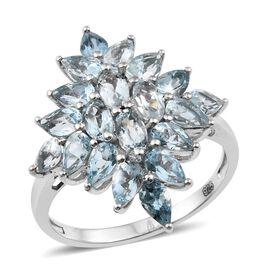 AA Espirito Santo Aquamarine (Ovl) Cluster Ring in Platinum Overlay Sterling Silver 3.750 Ct.