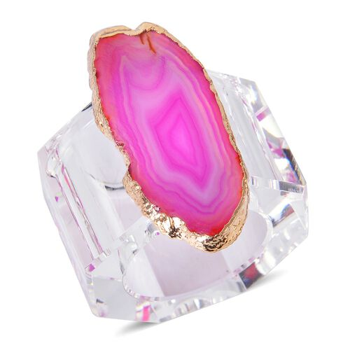 Pink Agate Napkin Ring and Coaster in Yellow Gold Tone 525.000 Ct.