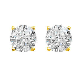 1 Carat Diamond Solitaire Stud Earrings in 9K Gold AGL Certified (I2/G-H)