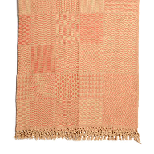 100% Cotton Hand Woven Beige and Rust Patch Look Jacquard Bedcover with Fringes (Size 270x220 Cm)