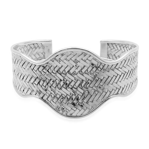 Royal Bali Bamboo Weave Collection Sterling Silver Cuff Bangle (Size 7.5), Silver wt 26.60 Gms.