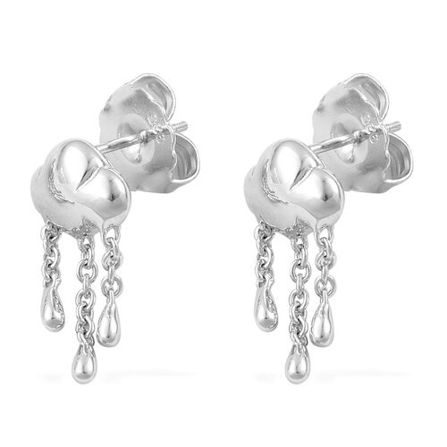 LucyQ Short Raincloud Earrings (with Push Back) in Rhodium Plated Sterling Silver 6.76 Gms.