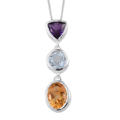 Citrine (Ovl 1.85 Ct), Sky Blue Topaz and Amethyst Pendant With Chain in Platinum Overlay Sterling Silver 3.500 Ct.