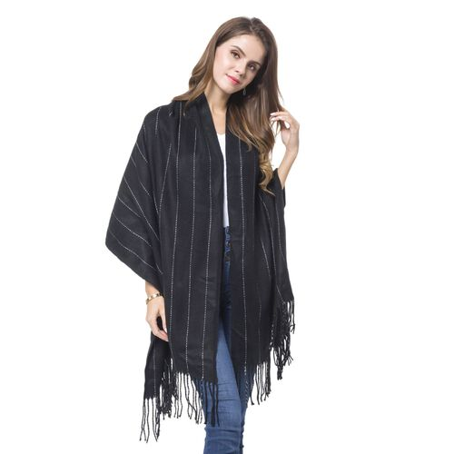 Italian Designer Inspired-Black and Off White Colour Stripes Pattern Scarf with Tassels (Size 190X65 Cm)