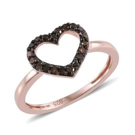 Love Heart Red Diamond (Rnd) Ring in Rose Gold Overlay Sterling Silver 0.150 Ct.