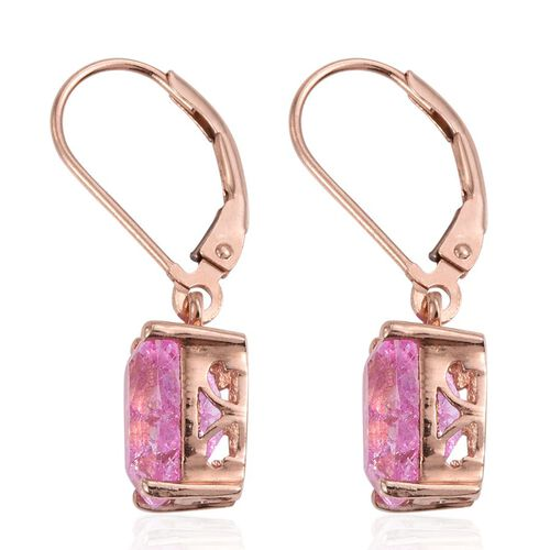 Hot Pink Crackled Quartz (Cush) Lever Back Earrings in Rose Gold Overlay Sterling Silver 6.000 Ct.