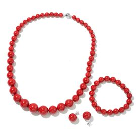 Red Shell Pearl (Rnd) Graduated Necklace (Size 20) with Magnetic Clasp, Stretchable Bracelet (Size 7) and Ball Stud Earrings (with Push Back) in Rhodium Plated Sterling Silver