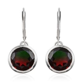 Tourmaline Colour Quartz (Rnd) Earrings in Platinum Overlay Sterling Silver 7.000 Ct.