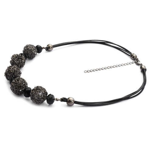 Simulated Black Spinel Necklace (Size 18) in Black Tone