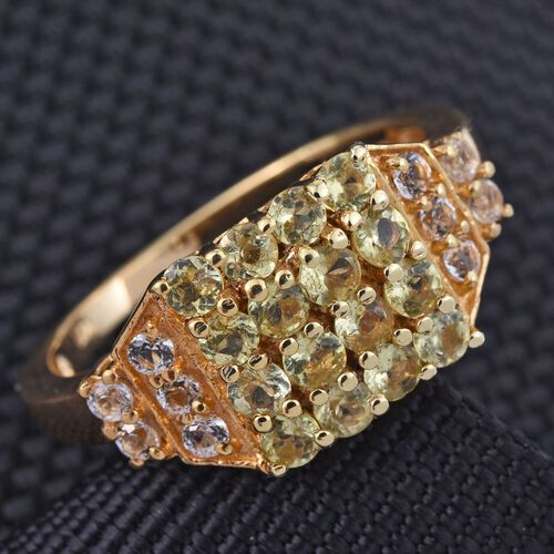 Natural Canary Apatite (Rnd), White Topaz Ring in 14K Gold Overlay Sterling Silver 1.500 Ct.